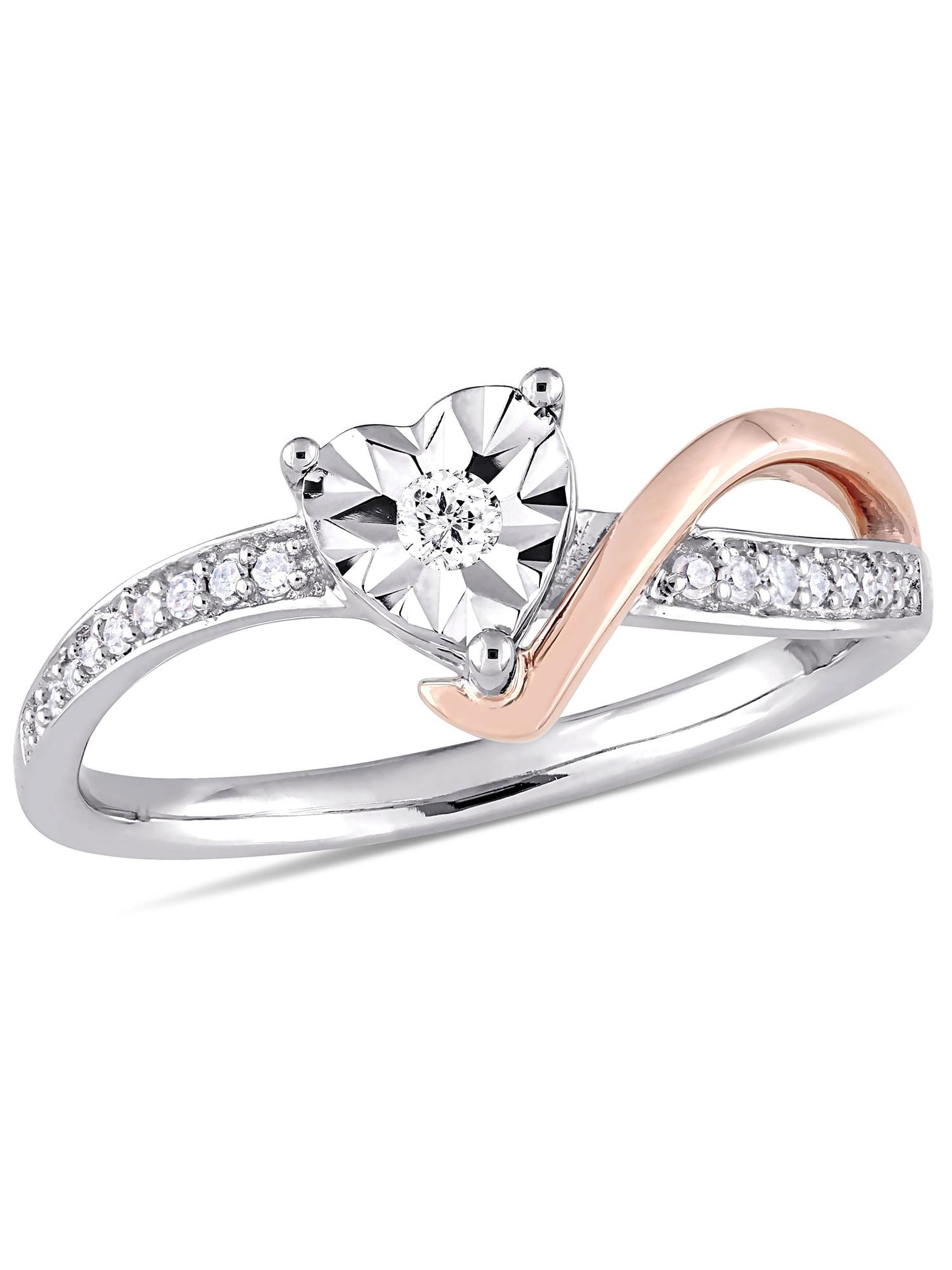1/10 Carat Diamond 10kt Two-Tone Gold Heart Swirl Promise Ring