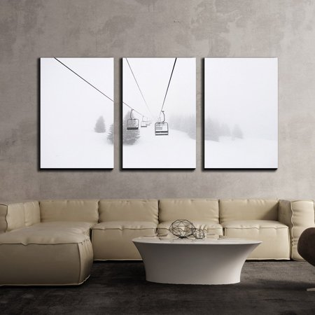 Wall26 3 Piece Canvas Wall Art Ski Lift In Winter Modern Home Decor Stretched And Framed Ready To Hang 16 X24 X3 Panels
