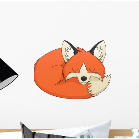 Fox Sleeping Wall Decal Mural by Wallmonkeys Vinyl Peel and Stick Graphic for Girls (12 in W x 9 in H) (Girl Fox Window Decals)