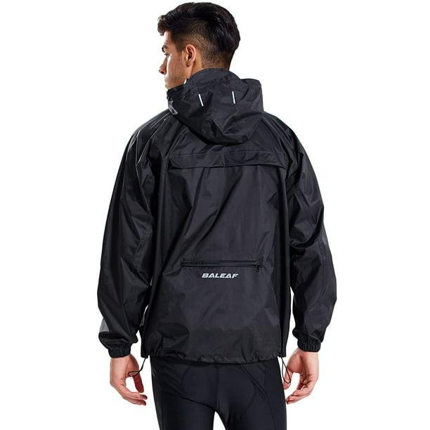 BALEAF Mens Rain Jacket Waterproof with Hooded Lightweight Packable Cycling Pullover Running Raincoat Poncho Windbreaker