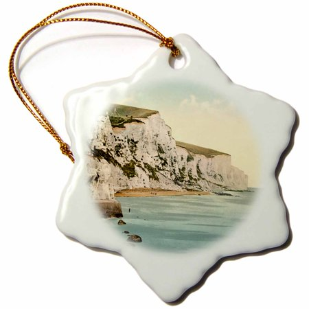 3dRose The White Cliffs of Dover- England- Vintage Photograph - Snowflake Ornament, 3-inch ()