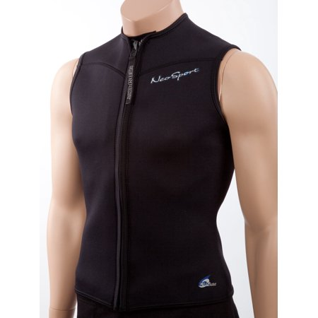 Neosport Mens 2.5mm Neoprene Zip Front Sport Vest: Warm Sleeveless Swim -
