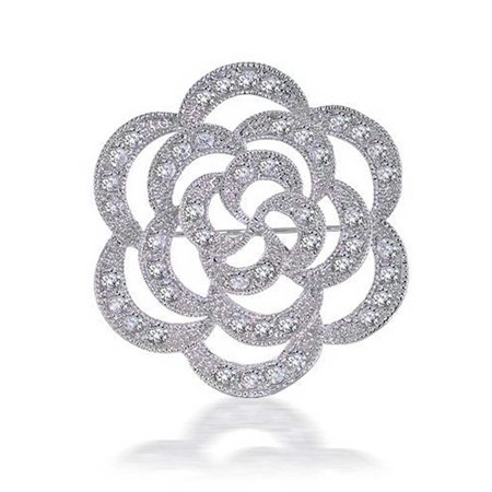 Fashion Cubic Zirconia Large Milgrain Open CZ Rose Flower Brooch Pin For Mother For Women Silver Plated Brass Butterfly Cubic Zirconia Brooch