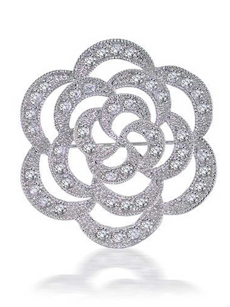 Large Rose Flower Shape Open Milgrain Cubic Zirconia Wedding Brooch Pin Silver Tone Rhodium Plated Brass