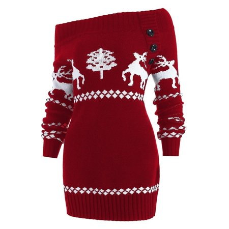 4 Colors Women'S Fashion Off Shoulder Elk Knitted Sweater Dress Long Sleeve Christmas Dress ()