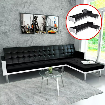 Yosoo L Shaped Sofa Bed Artificial Leather Black And White