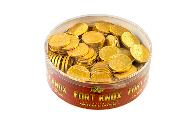 Fort Knox Milk Chocolate 1.5-inch Coins Gold Foil, 2 lb Tub by Gerrit J. Verburg Co.