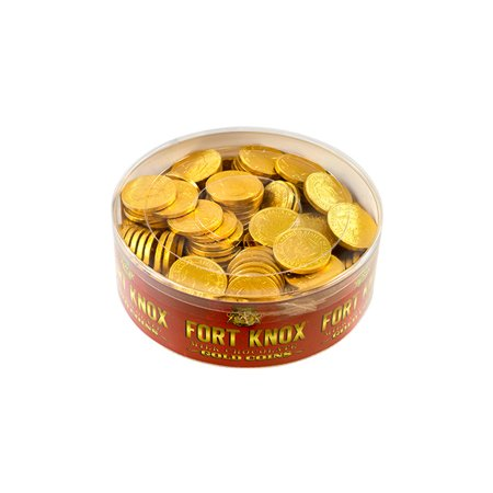 Fort Knox Milk Chocolate 1.5-inch Coins Gold Foil, 2 lb Tub - Coin Chocolate