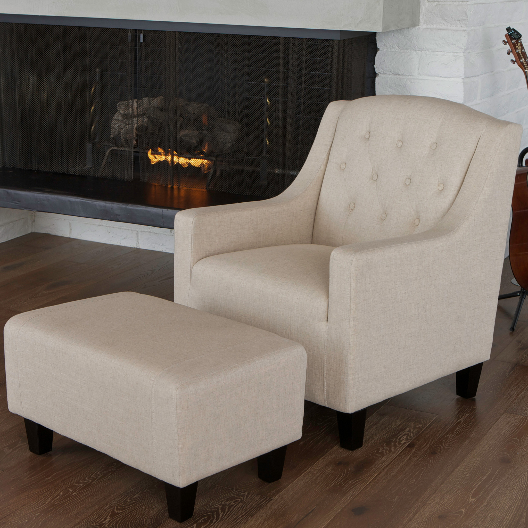 . MCM Eames Style Lounge Chair with Ottoman  White   Walmart com
