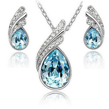 Beautiful Womens Necklace and Earrings Water Drop Jewelry (Beautiful Jewelry Set)