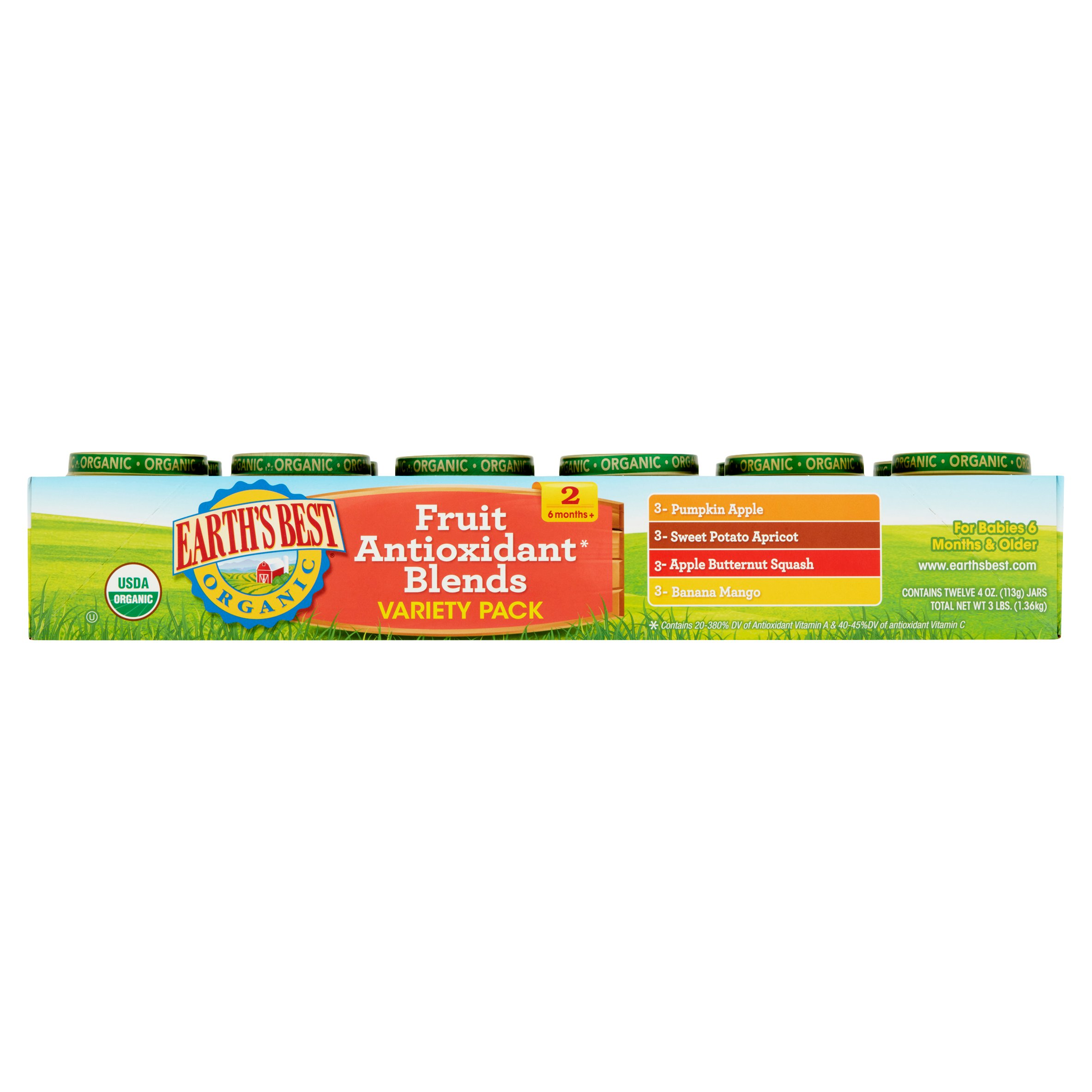 Earth's Best Organic Fruit Antioxidant Blends Variety Pack 2 6 Months+, 4 oz, 12 count
