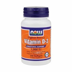NOW Foods Vitamin D3 5000 IU Softgels, 240 Ct
