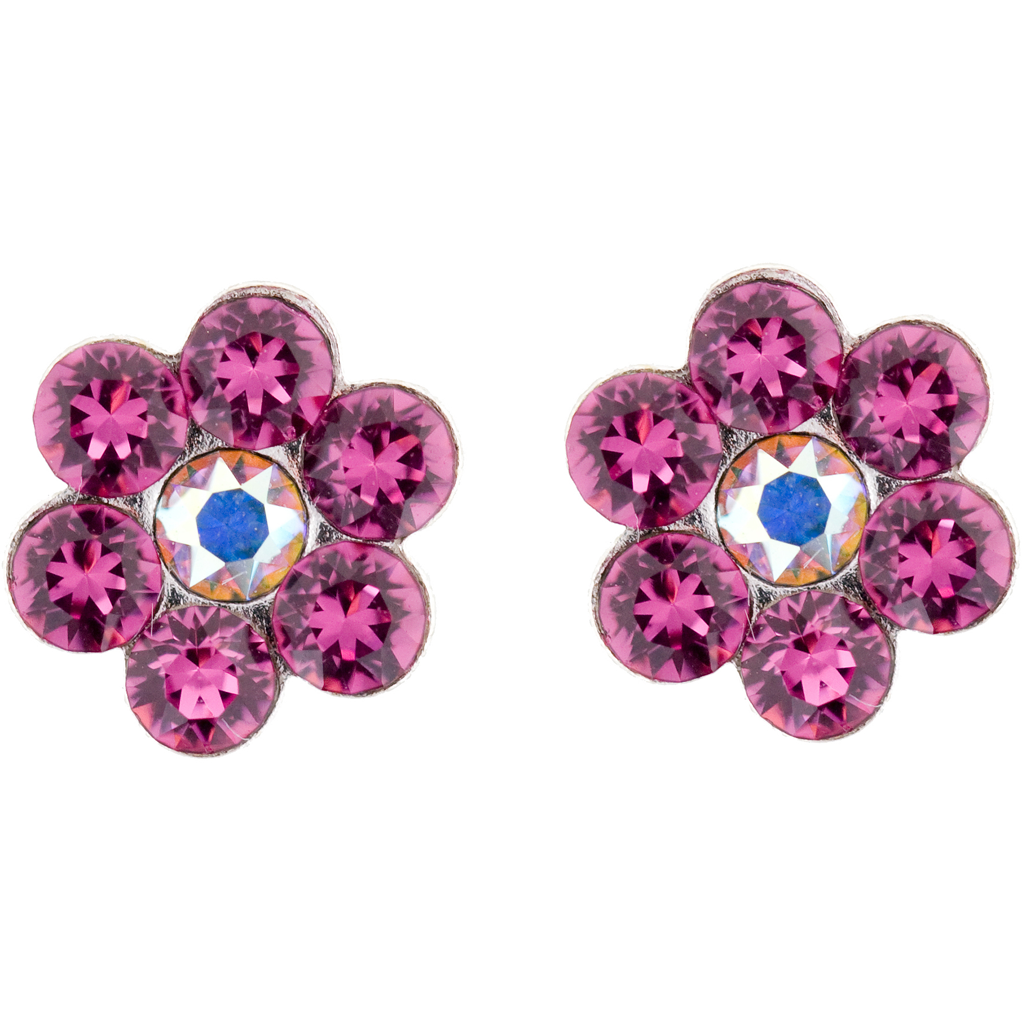 Hot Silver Pink Crystal Flower Stud
