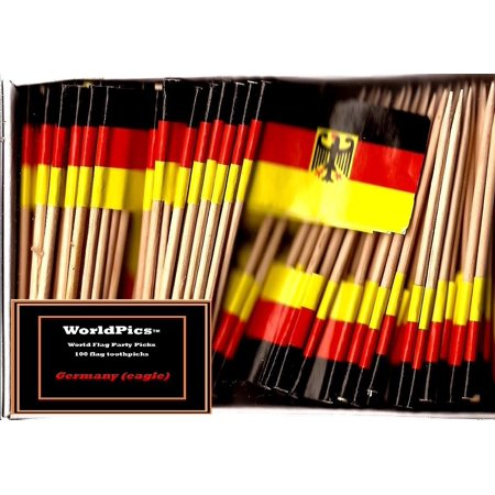 One Box Germany with Eagle Toothpick Flags, 100 Small German Eagle Cupcake Flag Toothpicks or Cocktail