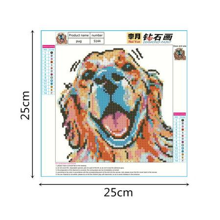 Electronicheart 5D Rhinestone Color Pug Dog Painting DIY Cartoon Animals Crafts Resin Needlework Crystal Cross Stitch - image 8 of 8