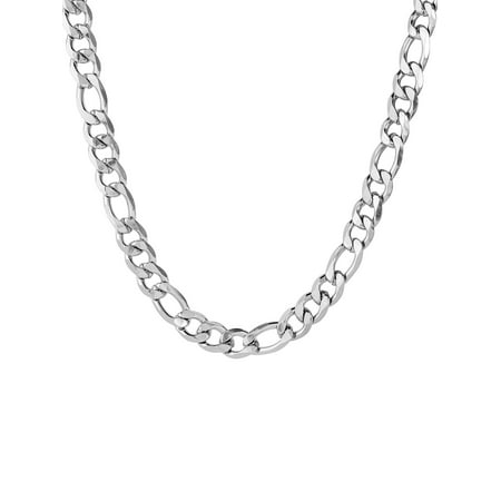 Figaro Neck Chain (Men's Stainless Steel Beveled Figaro Chain Necklace (12 mm) )
