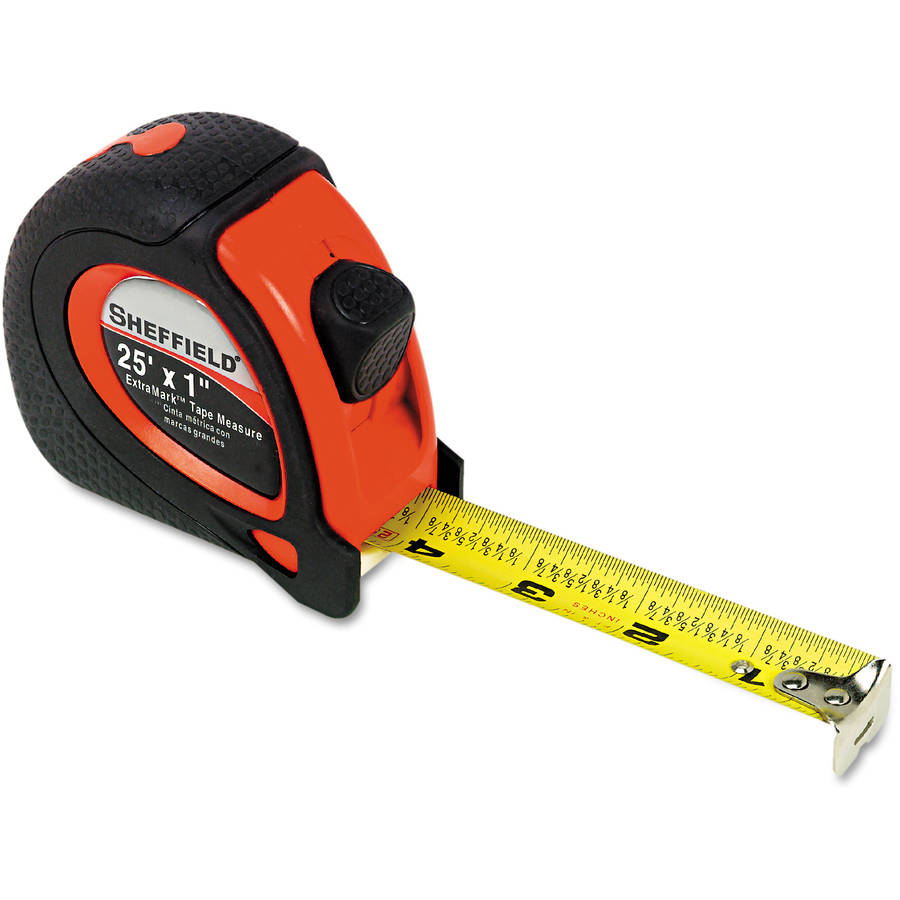 "Great Neck Sheffield Extramark Tape Measure, Red with Black Rubber Grip, 1"" x 25'"