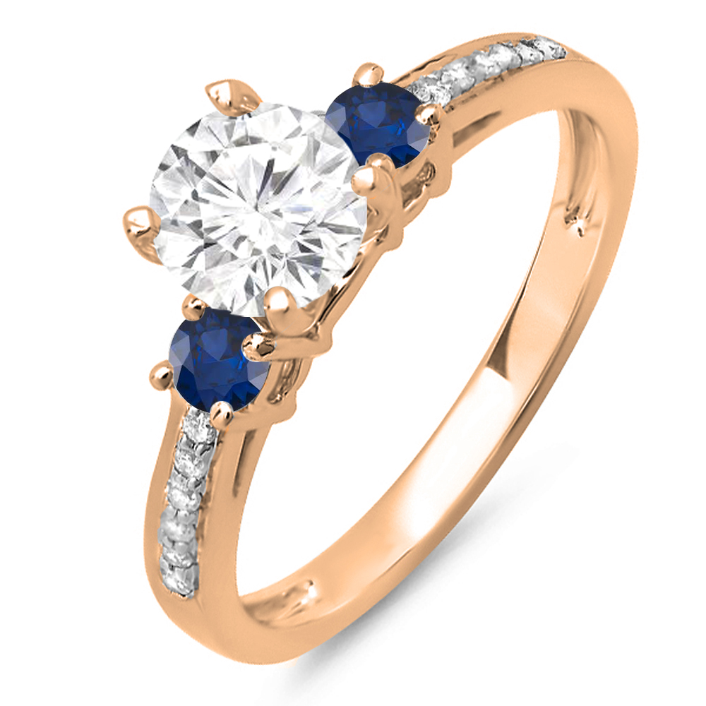 1.33 Carat (ctw) 10K Rose Gold Round White Diamond & Blue Sapphire Ladies Bridal 3 Stone Engagement Ring