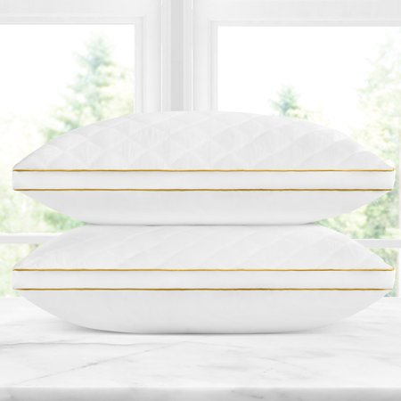 Italian Collection 2-Pack Microfiber Gel Filled Quilted Pillow by Noble Linens