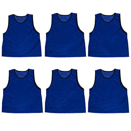 Crown Sporting Goods Adult Size Scrimmage Pinnies & Mesh Bag, 6-pack Dark