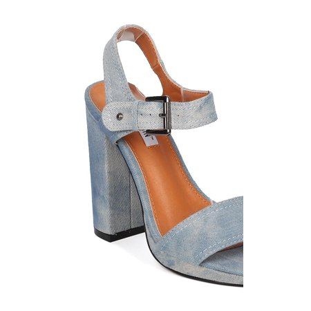46844510558 Cape Robbin - New Women Cape Robbin Fauna-1 Denim Open Toe Block Heel Sandal  - Walmart.com