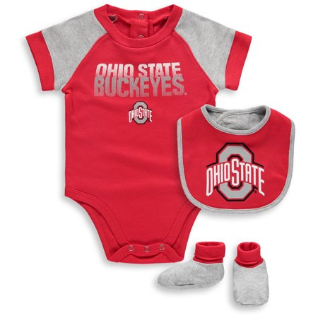 Ohio State Buckeyes Infant 50 Yard Dash Bodysuit, Bib and Bootie Set - Scarlet/Gray - Ohio State Baby Clothes