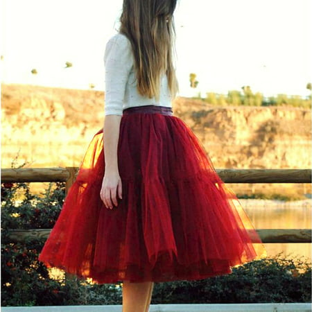 7 Layers Tulle Skirt Women Vintage Dress 50s Rockabilly Tutu Petticoat Ball Gown Dress Red