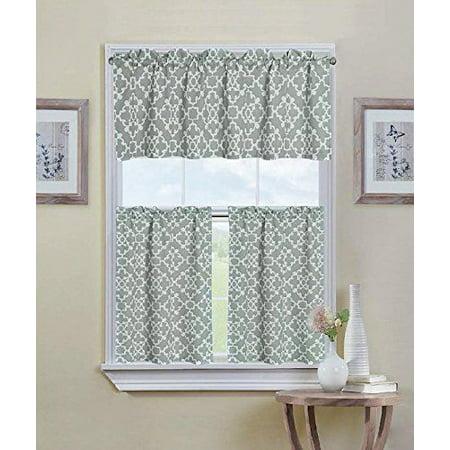 GoodGram Grey Shabby 3 Piece Kitchen Curtain Tier & Valance Set ()