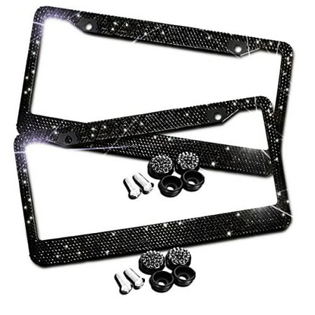 Zento Deals Sparkling Black Rhinestone Glitter Mixed Crystal Bling Stainless Steel License Plate Frame-2 Pack of All Weather-Proof Super Adhesive Black Rhinestone License Plate (Polished Stainless Steel License Plate)