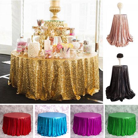 Sparkle Sequin Round Tablecloths,  Glitter Table Cloth Cover Wedding Banquet Birthday Christmas Party Event Baby Shower Dinner Home Decoration, Rose Gold Silver Champagne ()