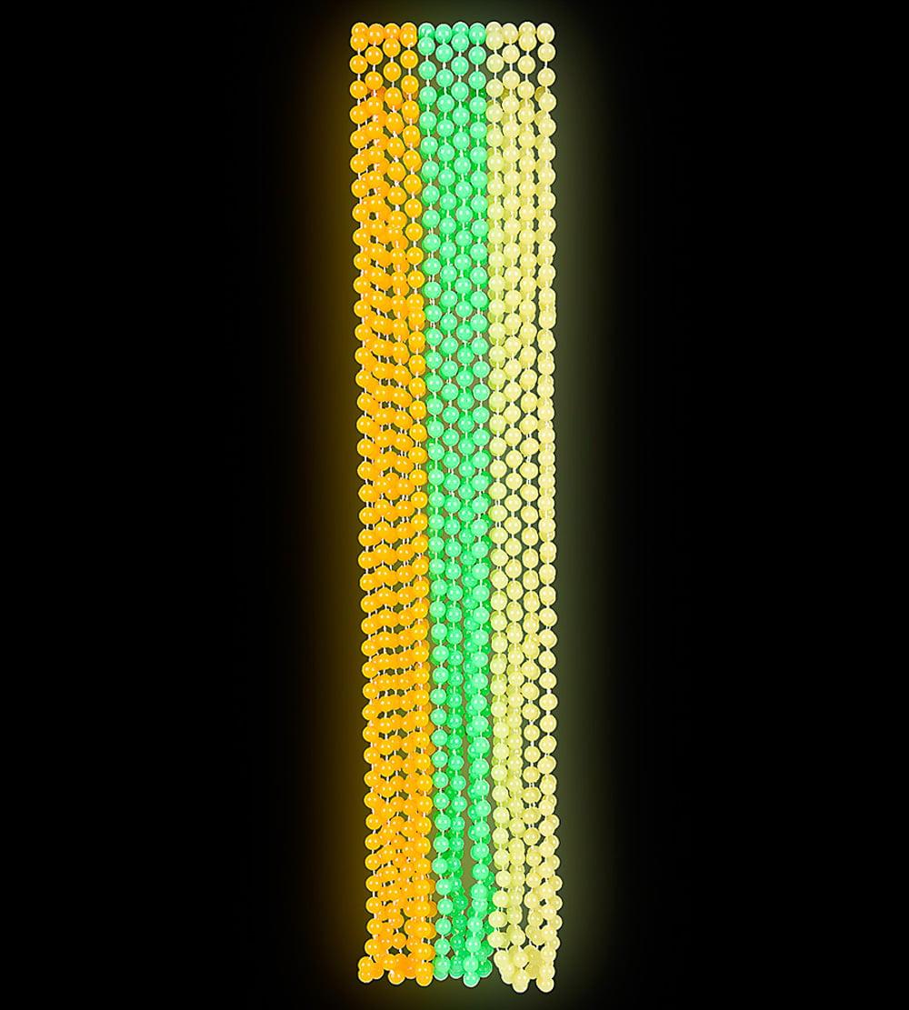 33 Green Orange & Yellow Glow in the Dark Birthday Party Favor Beaded Necklaces, 25 dozen