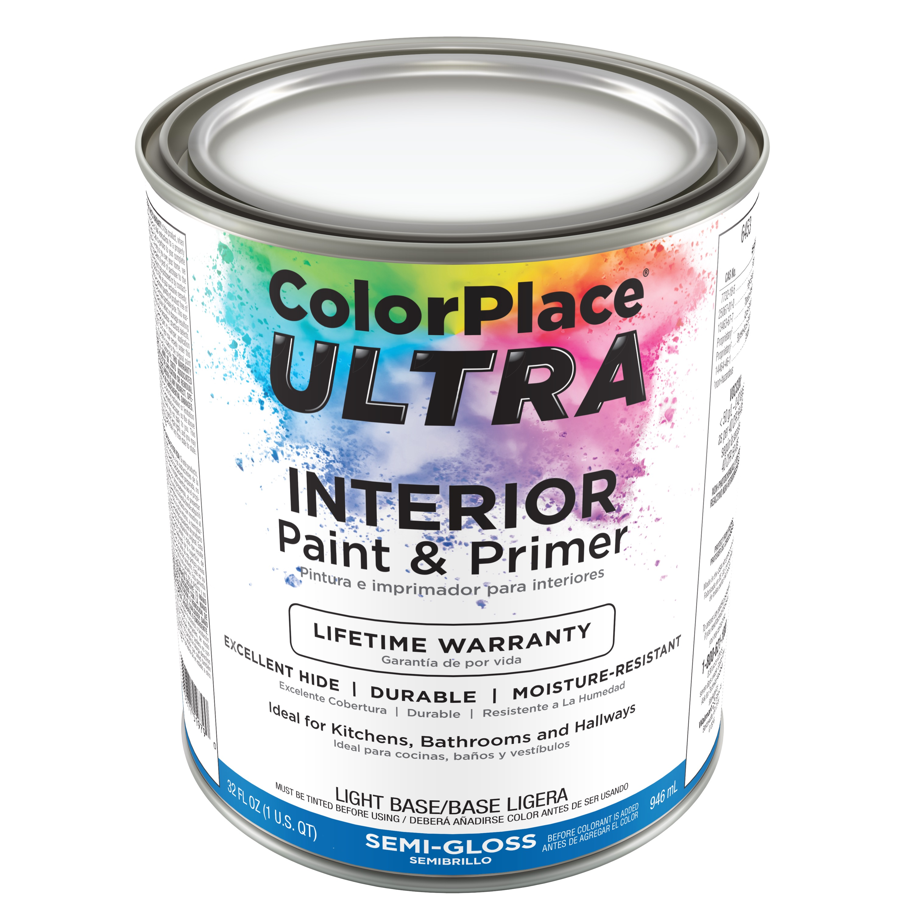 Color Place Ultra Semi-Gloss Interior Paint & Primer Light Base, 1-Qt