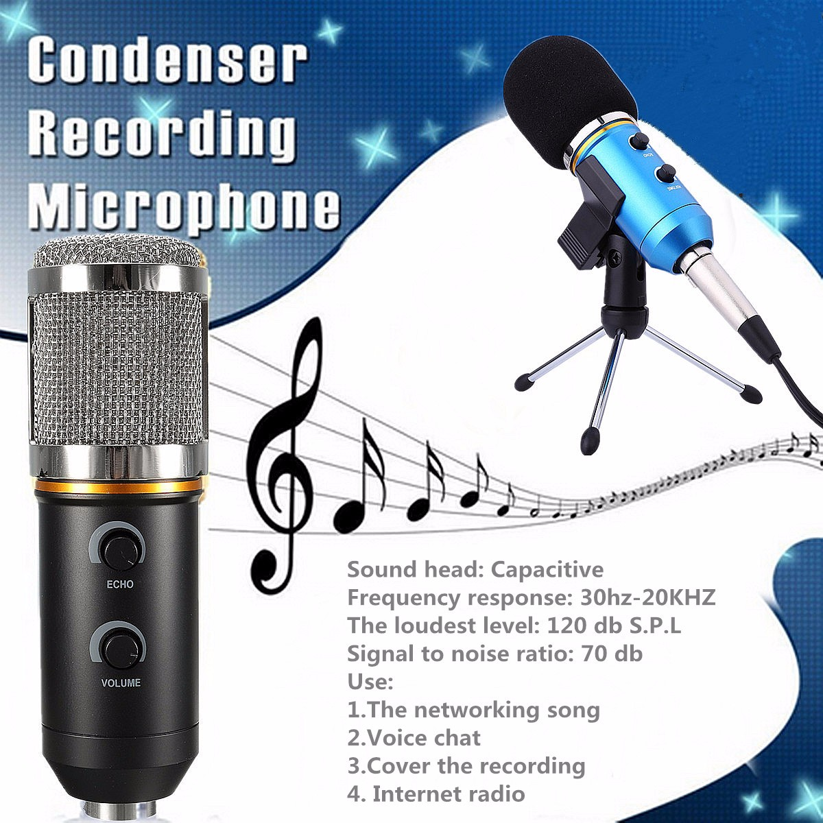 Audio USB Condenser Microphone Sound Recording Vocal Microphone Mic + Stand Mount