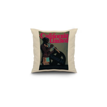 The California Limited Train Travel Poster 16x16 Spun Polyester Pillow