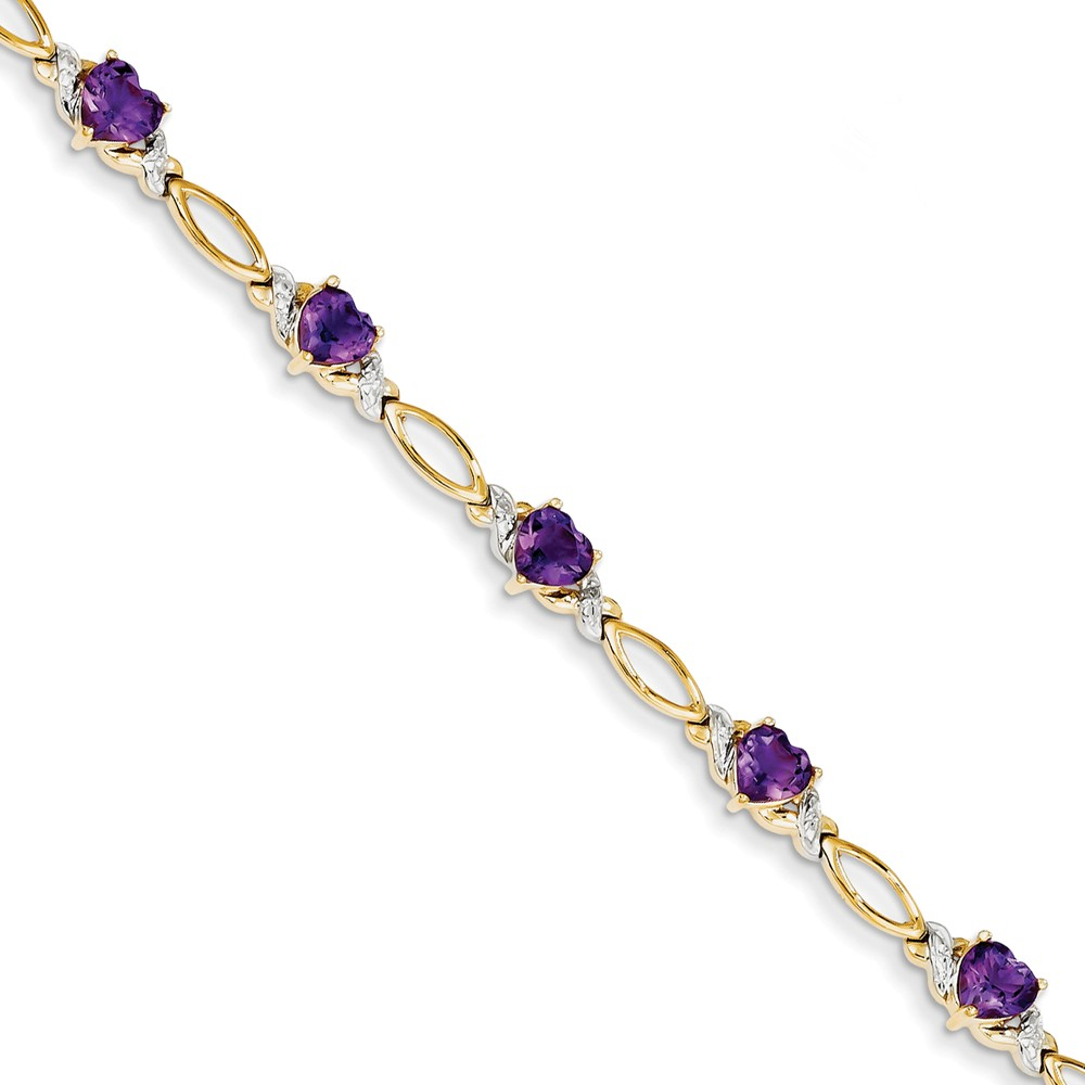 "14K Yellow Gold (0.02cttw) Diamond and Purple Amethyst Bracelet -7"" (7in x 7mm) by"