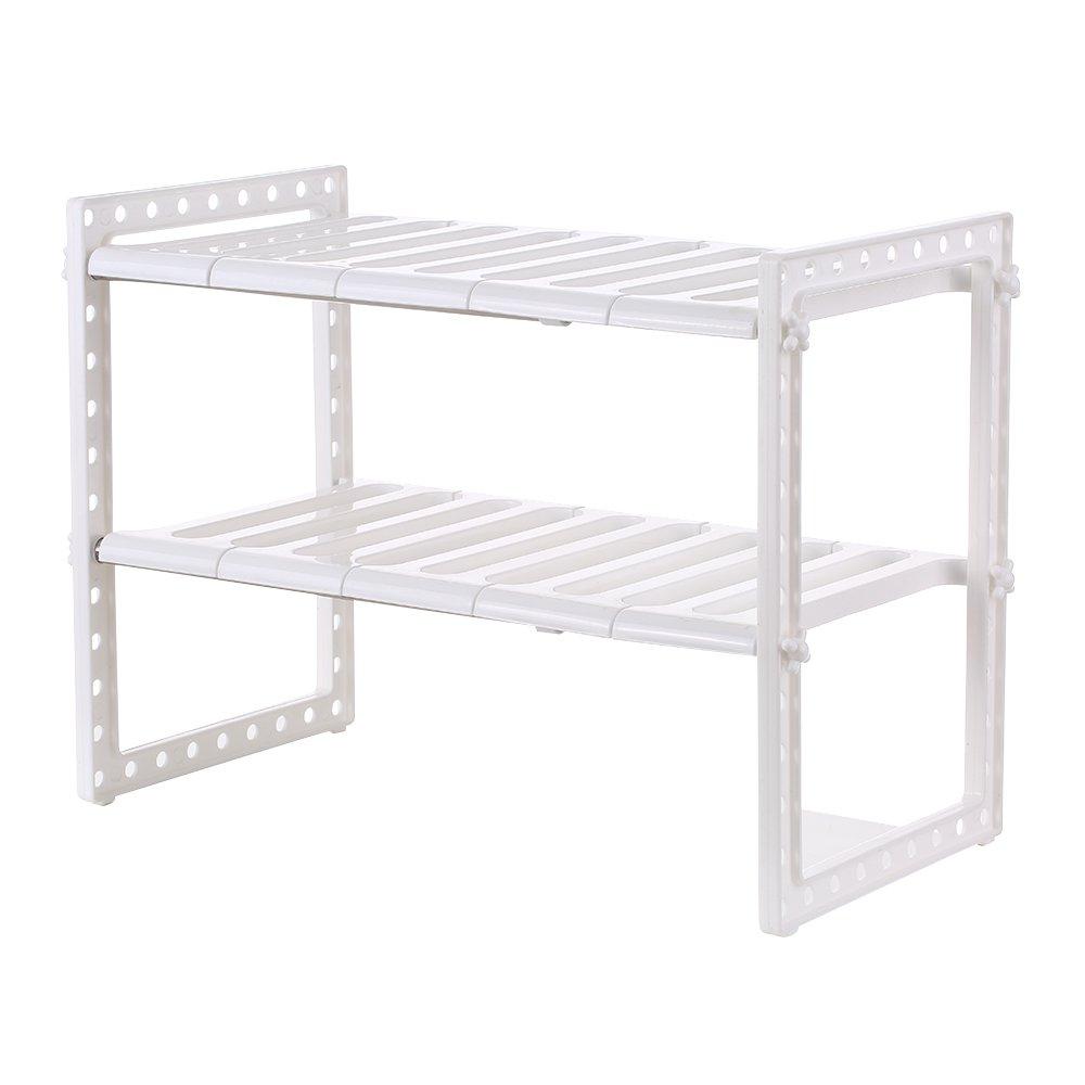 Multi Functional Under Sink 2 Tier Expandable Shelf Storage