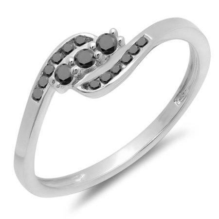 Dazzlingrock Collection 0.25 Carat (ctw) 10K Round Black Diamond Ladies Anniversary Promise Wedding Ring 1/4 CT, White Gold, Size -