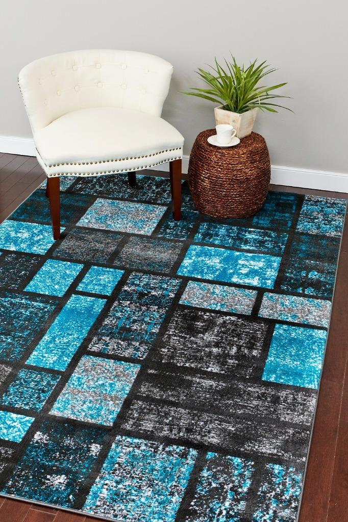 Persian Rugs 1007 Turquoise Abstract Modern Area Rug 5x7 by Persian Area Rugs LLC