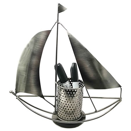 Nautical Ocean Sailboat Hand Made Steel Metal Stationery Organizer Holder Desktop Office Decor Gift