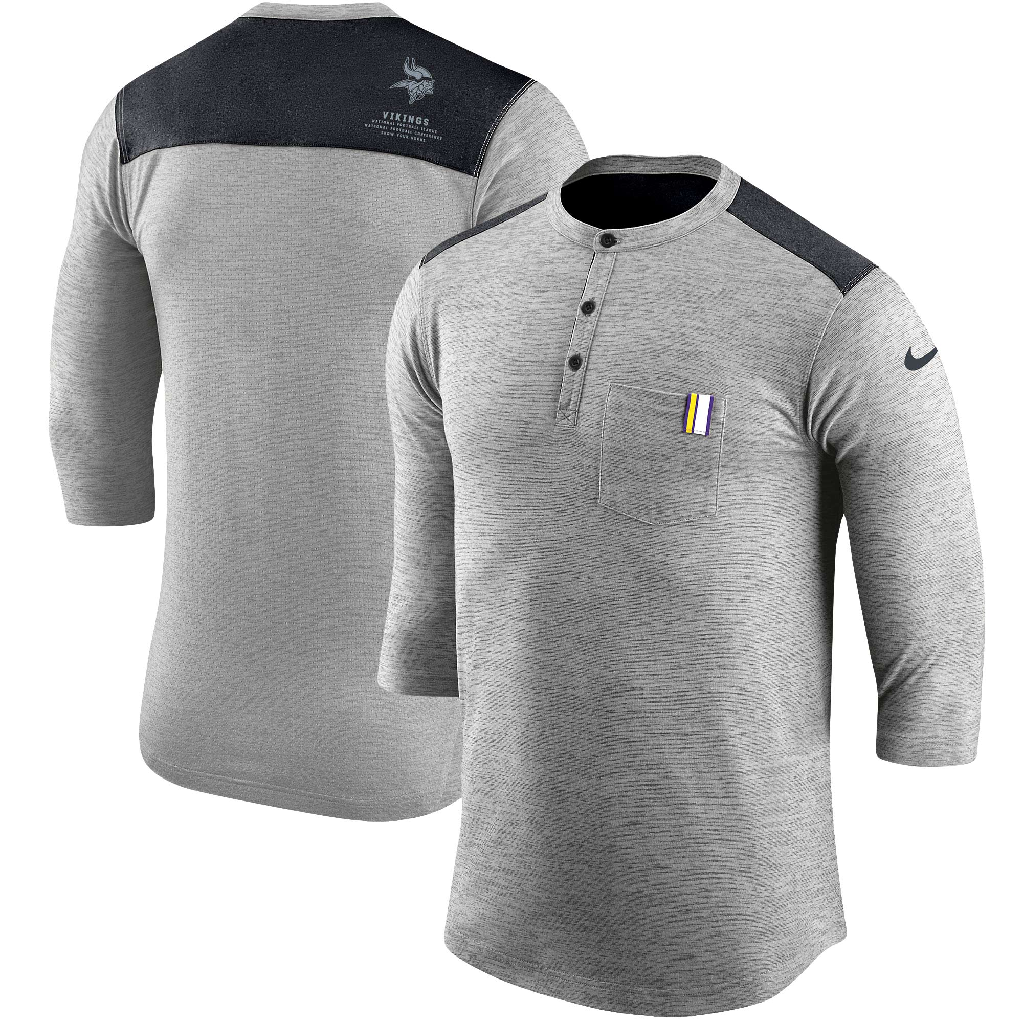 Minnesota Vikings Nike Performance Henley 3/4-Sleeve T-Shirt - Heathered Gray/Black