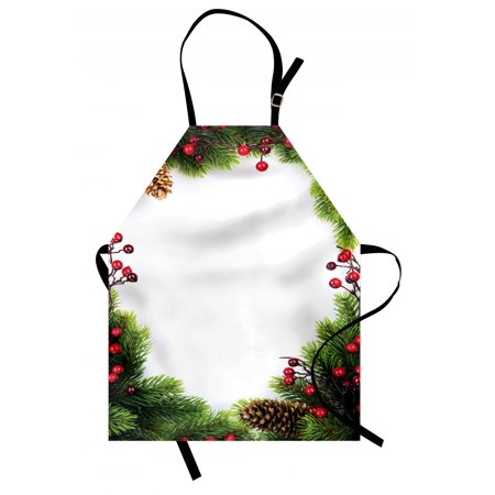 Christmas Apron Xmas Frame with Holly Berry Pine Cone Natural Wreath Traditional Composition, Unisex Kitchen Bib Apron with Adjustable Neck for Cooking Baking Gardening, Green Brown Red, by Ambesonne ()