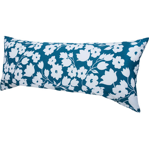 Hanes Easy Comfort Body Pillow with Removable Pillow Cover, Teal and White Floral Print