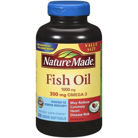 Fish oil 1000 mg omega 3 300 mg 250 softgels by nature for Liquid fish oil walmart