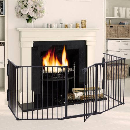 Jaxpety Fireplace Fence Baby Safety Fence Hearth Gate Pet Gate Guard Metal Plastic Screen, Black