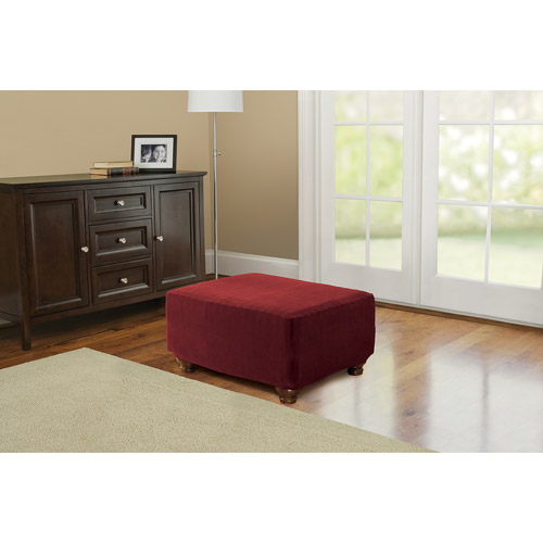 Better Homes and Gardens One-Piece Stretch Fine Corduroy Ottoman Slipcover