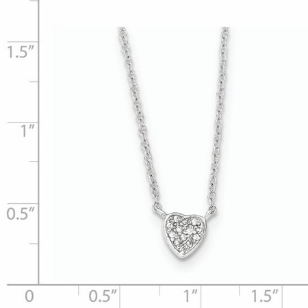 925 Sterling Silver Polished Heart with Cubic Zirconia Necklace 16 Inch - image 2 de 2