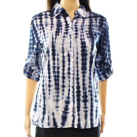 Nanette NEW Blue Women's Size XS Tie-Dye Pocket Button Down Blouse