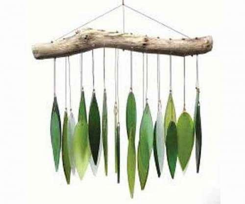 Blue Handworks Spring Leaves Glass Wind Chime by