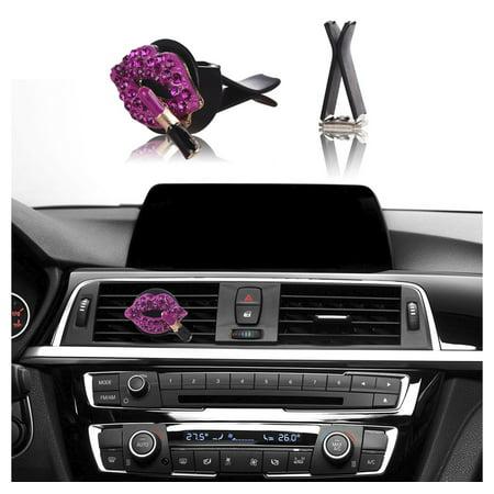Card Decorations (MINI-FACTORY Bling Car Interior Accessories Air Vent Rhinestone Diamond Lipstick Decoration - Hot)