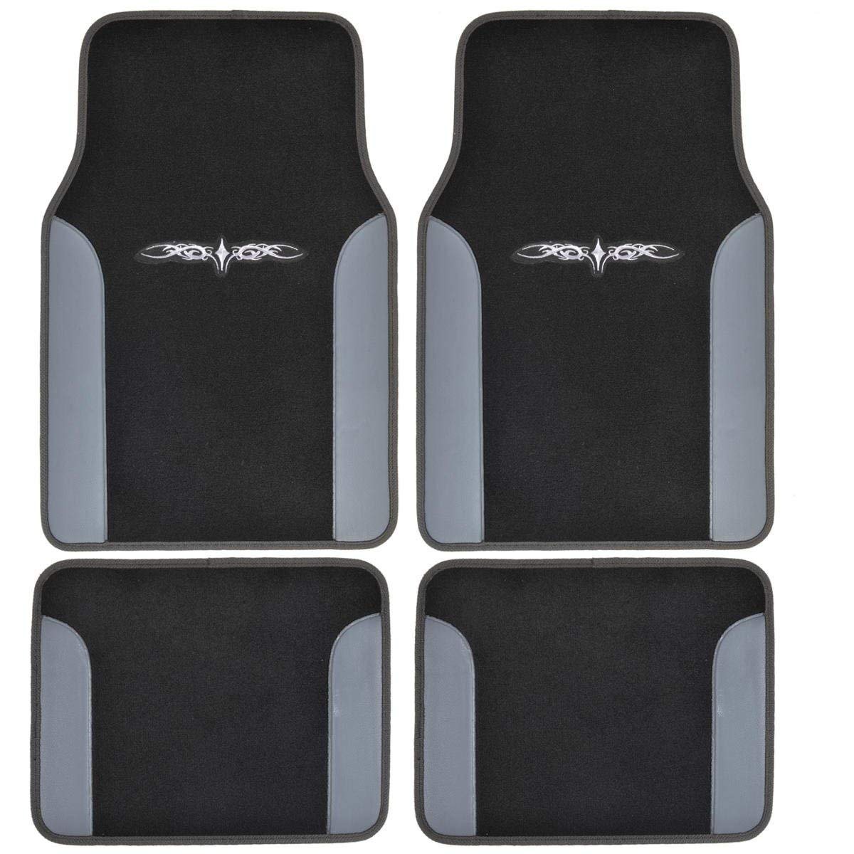 A Set of 4 Universal Fit Plush Carpet with Vinyl Trim Floor Mats For Cars / Trucks - Tribal Gray